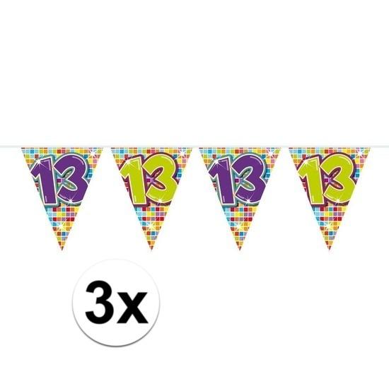 3 Mini Vlaggenlijn Slinger Verjaardag Versiering 13 Jaar Fun En