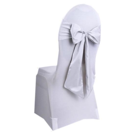 6 Witte Stoelhoezen.Bruiloft Stoel Decoratie Witte Strik Fun En Feest Megastore Alkmaar