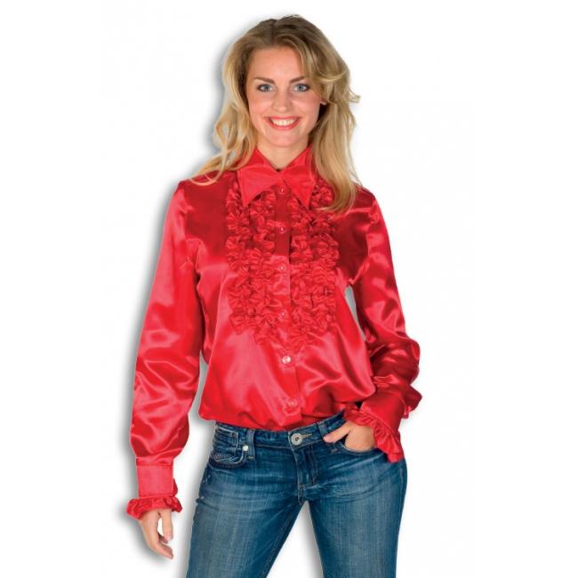 Blouse rood met rouches heren voor carnaval